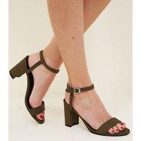 Khaki Suedette Two Part Block Heels New Look