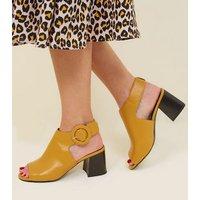 Mustard Leather-Look Flare Heel Slingbacks New Look