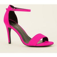 Bright Pink Satin Two Part Stiletto Sandals New Look