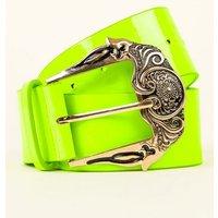 Green Neon Oversized Buckle Belt New Look