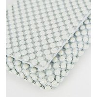 Off White Beaded Foldover Clutch Bag New Look