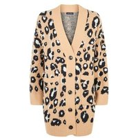 Brown Leopard Print Knitted Cardigan New Look