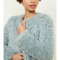 Mint Green Curly Faux Fur Jacket New Look