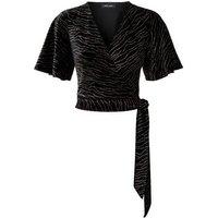 Black Zebra Glitter Print Velvet Crop Top New Look