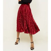 Cameo Rose Burgundy Pleated Satin Midi Skirt New Look