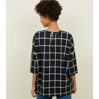 Black Grid Check Print Zip Back Top New Look