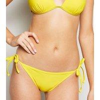 Pale Yellow Tie Side Bikini Bottoms New Look
