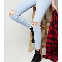 Bright Blue High Waist Super Skinny Ripped Hallie Jeans New Look
