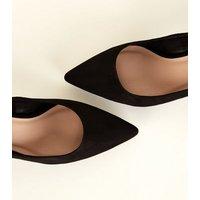 Wide Fit Black Suedette Ankle Strap Kitten Heels New Look