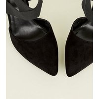 Black Suedette Elastic Cross Strap Heels New Look