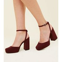 Wide Fit Dark Red Suedette Square Toe Heels New Look
