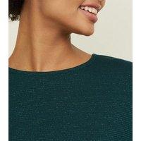 Dark Green Glitter Stripe Oversized Top New Look