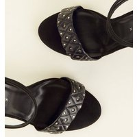 Wide Fit Black Quilted Stud Strap Heels New Look