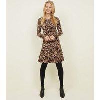 Tall Brown Leopard Print Skater Dress New Look