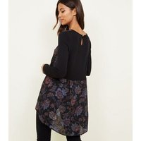 Apricot Black Floral Chiffon and Jersey Dip Hem Top New Look
