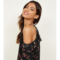 Apricot Black Ditsy Floral Cold Shoulder Top New Look