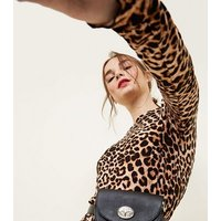 Petite Brown Leopard Print Soft Touch Mini Dress New Look