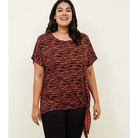 Curves Orange Zebra Print Tie Side T-Shirt New Look