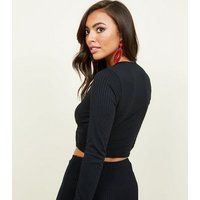 Black Wrap Front Long Sleeve Crop Top New Look