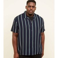Plus Size Navy Revere Collar Green Stripe Shirt New Look