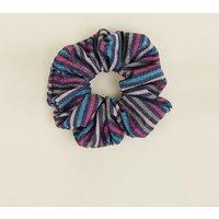 Blue Glitter Stripe Scrunchie New Look