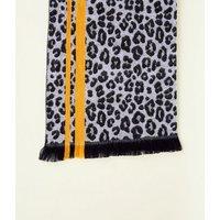 Black Animal Print Contrast Stripe Scarf New Look