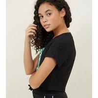 Girls Black New York Circle Print T-Shirt New Look