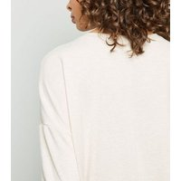 Cream Button Side Brushed Batwing Top New Look