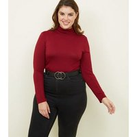 Curves Burgundy Long Sleeve Roll Neck Top New Look