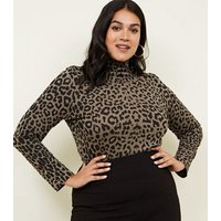 curves-green-leopard-print-roll-neck-top-new-look