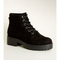 Black Suedette Chunky Lace Up Boots New Look