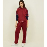Burgundy Piped Stripe High Shine Joggers New Look