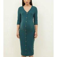 Maternity Dark Green Button Through Midi Dress New Look