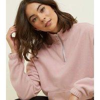 Pale Pink Zip Neck Fleece Sweatshirt New Look