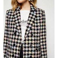 Black Check Bouclé Coat New Look