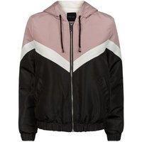 Black Colour Block Fleece Lined Windbreaker New Look