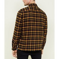 Mustard Brushed Check Shacket New Look