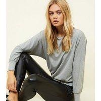 Grey Marl Batwing Sleeve Top New Look