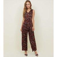 Cameo Rose Dark Brown Leopard Print Jumpsuit New Look