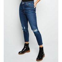 Petite Blue High Waist Ripped Knee Skinny Jeans New Look