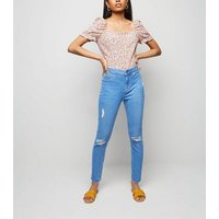 Petite Bright Blue High Waist Ripped Skinny Jeans New Look
