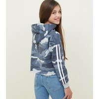 Girls Blue California Slogan Camo Print Hoodie New Look