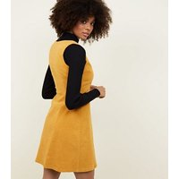 Mustard Corduroy Button Front Dress New Look