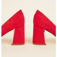 Red Suedette Metal Flare Heel Courts New Look