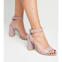 Lilac Faux Croc Ring Buckle Block Heels New Look