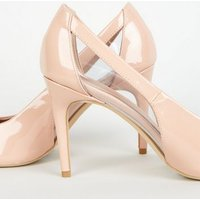 Nude Patent Clear Panel Mid Heel Courts New Look