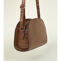 Khaki Faux Croc Curved Cross Body Bag New Look