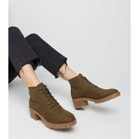 Khaki Suedette Chunky Sole Lace Up Boots New Look