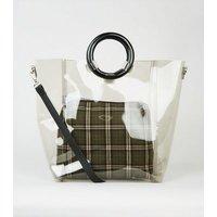 Black Tinted Ring Handle Tote Bag New Look