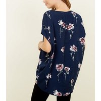 Apricot Blue Floral Oversized Top New Look